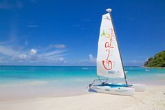 West Indies, Caribbean, Antigua, Long Bay, Beach & Hobie Cat Stock Photography