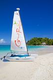 West Indies, Caribbean, Antigua, Long Bay, Beach & Hobie Cat Royalty Free Stock Photo
