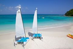 West Indies, Caribbean, Antigua, Long Bay, Beach & Hobie Cats Royalty Free Stock Images