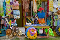 West Indies, Caribbean, Antigua, Long Bay, Colourful Traders Stall Stock Photo