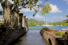West Indies, Caribbean, Antigua, Nelson's Dockyard, Boat Home and Sail Loft Stock Photos