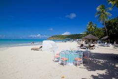 West Indies, Caribbean, Antigua, St Georges, Dickenson Bay, Beach Stock Photography