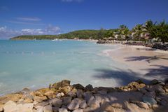 West Indies, Caribbean, Antigua, St Georges, Dickenson Bay, Beach Royalty Free Stock Images