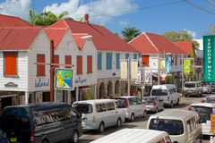 West Indies, Caribbean, Antigua, St Johns, Colourful Shops On Redcliffe Street Stock Photo