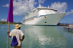 West Indies, Caribbean, Antigua, St Johns, Cruise Ship in Port Stock Photography