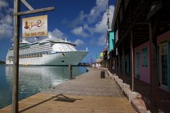 West Indies, Caribbean, Antigua, St Johns, Cruise Ship in Port Stock Images