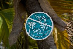 West Indies, Caribbean, Antigua, St Johns, Galley Bay, Sign royalty free stock photos