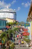 West Indies, Caribbean, Antigua, St Johns, Heritage Quay & Cruise Ship in Port Royalty Free Stock Images