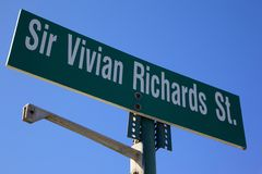 West Indies, Caribbean, Antigua, St Johns, Sir Vivian Richards St Sign Stock Photography