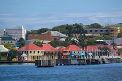 West Indies, Caribbean, Antigua, St Johns, View of St Johns from Harbour Stock Photo