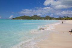 West Indies, Caribbean, Antigua, St Mary, Jolly Harbour, Beach Stock Photo