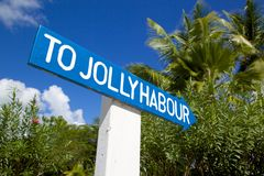 West Indies, Caribbean, Antigua, St Mary, Jolly Harbour, Sign Stock Photography