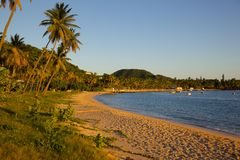 West Indies, Caribbean, Antigua, St May, Morris Bay, Beach at Sunset Royalty Free Stock Photography