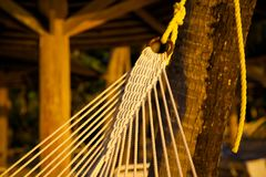 West Indies, Caribbean, Antigua, St May, Morris Bay, Hammock & Beach at Sunset Stock Photography