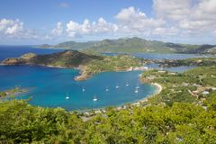 West Indies, Caribbean, Antigua, View of English Harbour from Shirley Heights Stock Photography