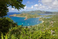 West Indies, Caribbean, Antigua, View of English Harbour from Shirley Heights Stock Image