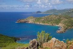 West Indies, Caribbean, Antigua, View of English Harbour from Shirley Heights Royalty Free Stock Image