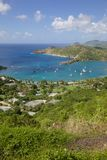 West Indies, Caribbean, Antigua, View of English Harbour from Shirley Heights Stock Photo
