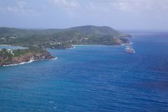 West Indies, Caribbean, Antigua, View of entrance to Falmouth Harbour Royalty Free Stock Image