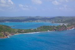 West Indies, Caribbean, Antigua, View of Falmouth Harbour Royalty Free Stock Image