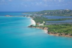 West Indies, Caribbean, Antigua, View of Runaway Bay & Beach Royalty Free Stock Photo