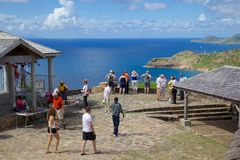 West Indies, Caribbean, Antigua, View from Shirley Heights & Tourists Stock Photos