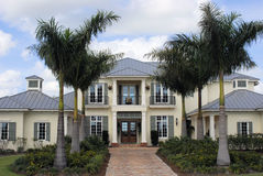 West Indies-style luxury home. In upscale community stock image
