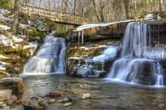West Kill Falls and Spruceton Trail Bridge Stock Image