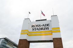 Ross-Ade Stadium at Purdue University. WEST LAFAYETTE, IN/USA - OCTOBER 22, 2017: Ross-Ade Stadium on the campus of the Purdue University royalty free stock photography