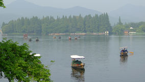 West lake with boats  in summer Royalty Free Stock Photo