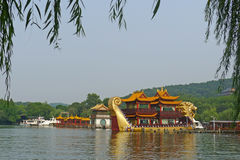 West lake with dragon  boats Stock Photos