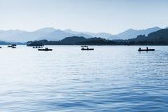 West Lake, floating boats, Hangzhou, China Stock Images