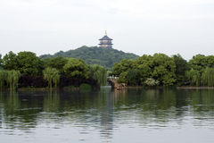 West Lake Hangzhou. West Lake with Leifeng Tower, Hangzhou, China Stock Photo