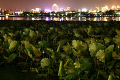 West Lake in Hangzhou, China night Royalty Free Stock Photo