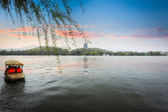The west lake of hangzhou in sunset Stock Images