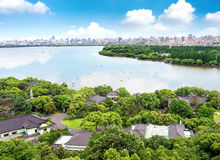West Lake in Hangzhou, Zhejiang, China. Aerial View of the West Lake and the city of Hangzhou, China royalty free stock photography