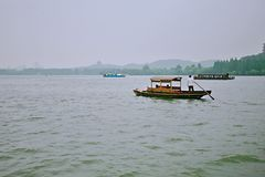 Hangzhou West Lake. West Lake, located in the west of Hangzhou, Zhejiang Province, West Lake on the three side of the mountain, an area of about 6.39 square stock photography
