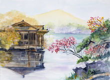 West lake rendition. A watercolor scene of West Lake, Hangzhou China Royalty Free Stock Image