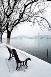 West Lake in the snow, Hangzhou, China Royalty Free Stock Image