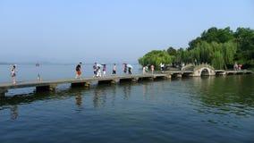 West lake  with stone bridge Royalty Free Stock Photos