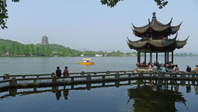 West lake  with traditional buildings Royalty Free Stock Photos