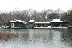 West Lake(xihu) in Hangzhou of China in winter after the snow Royalty Free Stock Image
