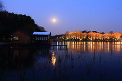 West Lake(xihu) in Hangzhou of China in winter after the snow at night Royalty Free Stock Photos