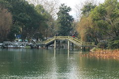 West Lake(xihu)park in Hangzhou of China in winter after the snow Royalty Free Stock Photo