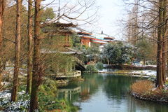 West Lake(xihu)park in Hangzhou of China in winter after the snow Royalty Free Stock Image