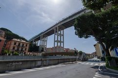 West Ligurian motorway. Detail of the western Ligurian motorway bridge in the Varazze area Stock Image