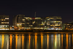 West London city scape at night. View of West London city scape across river Thames at night Stock Images