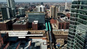 West Loop cityscape in Chicago, USA. Aerial view above Lake Street. stock footage