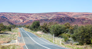 West Macdonnell Ranges Australia scene. Very remote Stock Photo