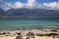 West Maui Mountains. From Kapana Beach stock image